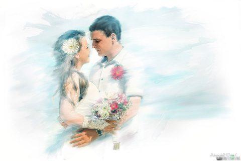 свадебное фото на холсте в Самаре