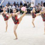 Гимнастки синхронно выполняют гимнастические элементы- спортивная фотосессия